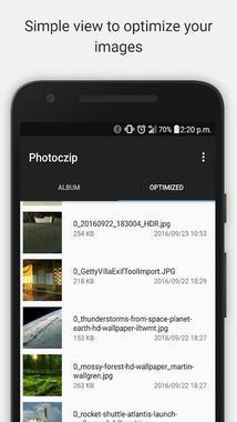 Сжатые фото в приложении Photoczip