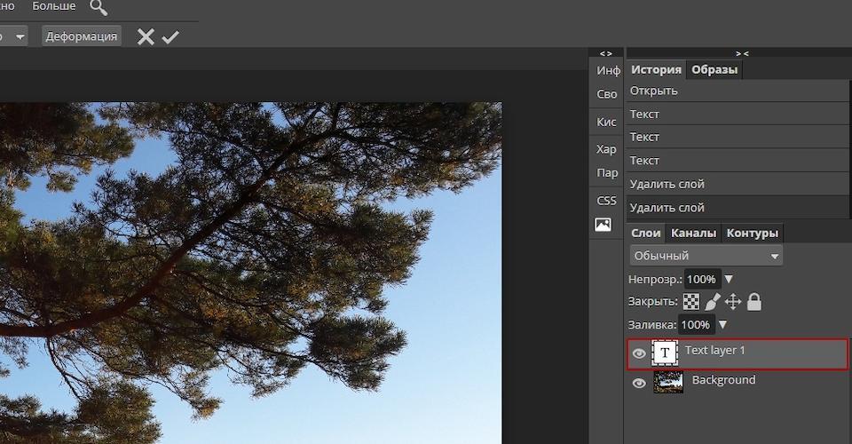 Специальный слой для текста в Photoshop