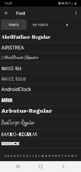 Выбор шрифта в приложении Phonto